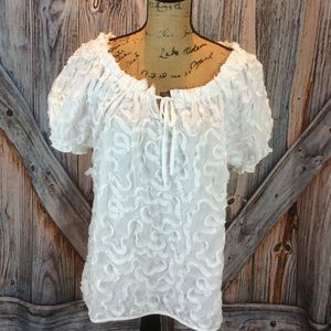 Grand and Greene white on white scrollwork blouse
